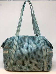 VLD Perforated Side Pocket Tote in Aqua - Big Bag