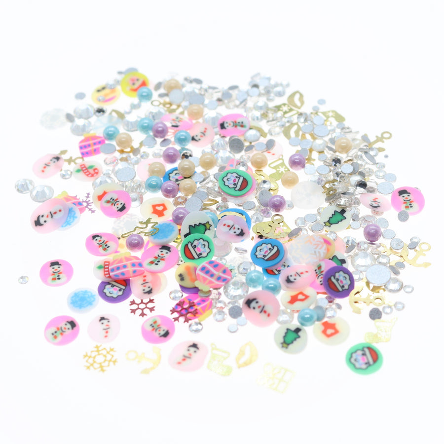 Christmas | Nail Art Charms | #10 - Crystal and colored stickers with golden shapes