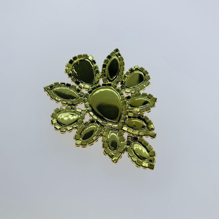 Peridot Crystal Appliqué  -  Flower shape set in gold base 45x59mm