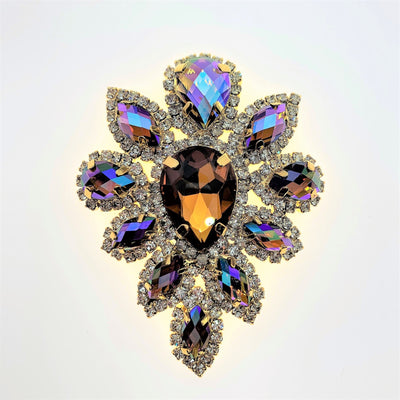 Smoked Topaz AB Crystal Appliqué  -  Flower shape set in gold base 45x59mm
