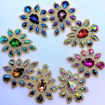 Sapphire AB Crystal Appliqué  -  Flower shape set in gold base 45x59mm