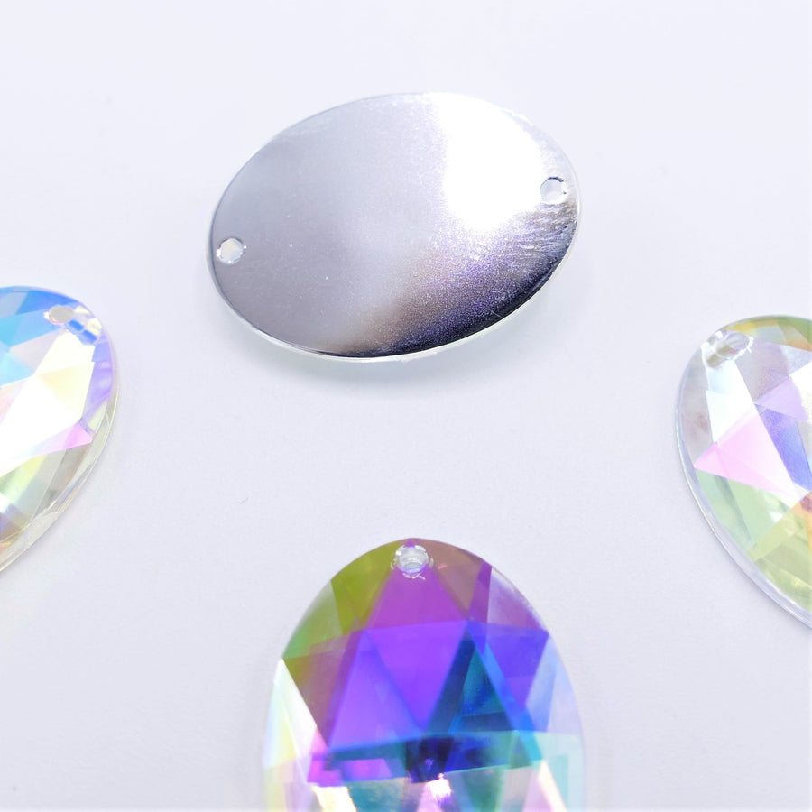 Acryl - Oval Sewing Stone - Crystal AB