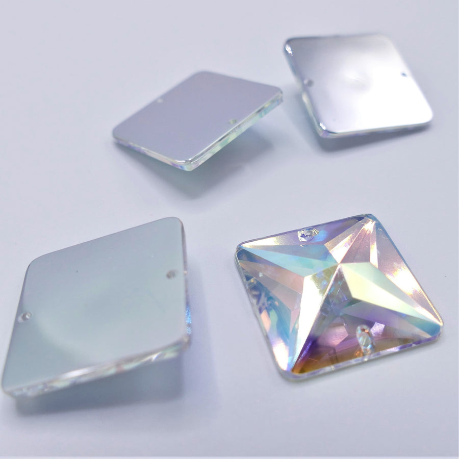 Acryl - Square Sewing Stone - Crystal AB