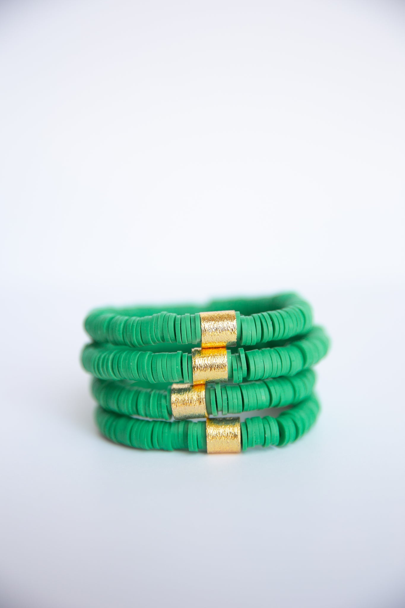 Kelly Green Vinyl Disk Beaded Elastic Bracelet