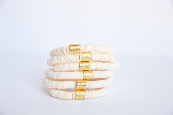 Winter White Vinyl Disk Beaded Elastic Bracelet