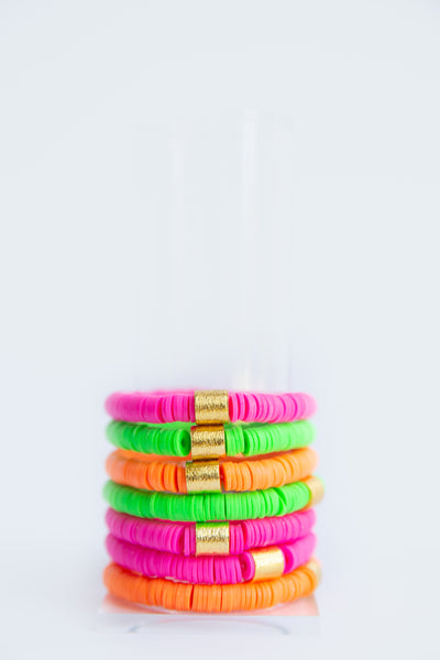 Hot Pink Vinyl Disk Beaded Elastic Bracelet
