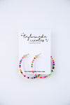 Large Confetti Beaded Hoop Earrings