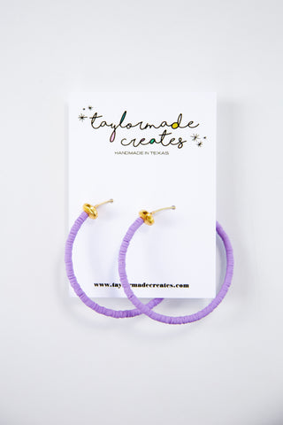 Large Lavender Beaded Hoop Earrings
