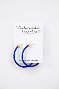 Large Royal Blue Beaded Hoop Earrings