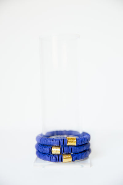 Royal Blue Vinyl Disk Beaded Elastic Bracelet