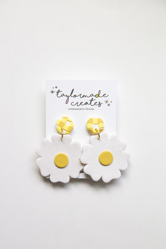 Large White & Mustard Flower Earrings