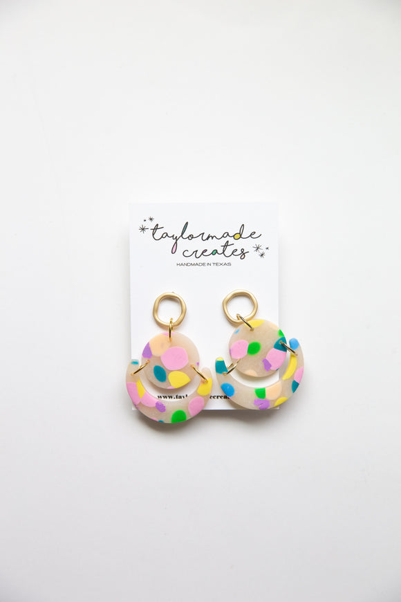 Medium Party Dot Geo Dangle Earrings