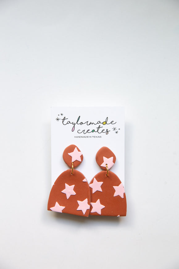 Medium Rust and Pink Star Dome Dangle Earrings
