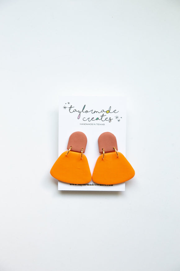 Medium Rust & Orange Bell Earrings