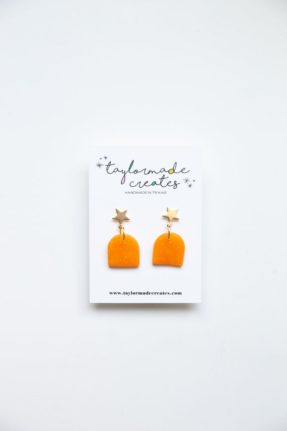 Small Orange Star Geo Earrings