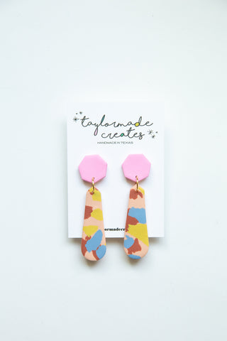 Large Peach, Blue, Mustard & Pink Slide Dangle Earrings