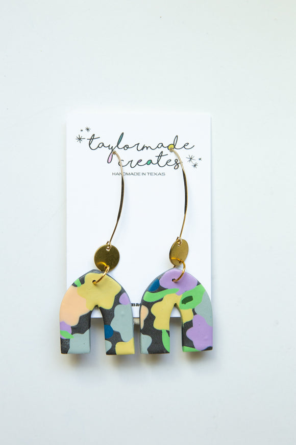 Charcoal & Green Floral Drop Earrings