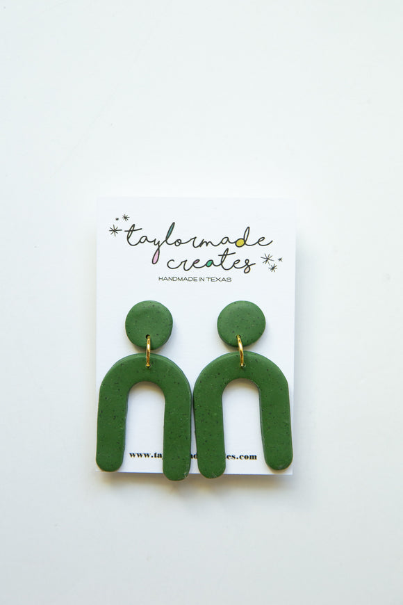 Medium Green U Dangle Earrings