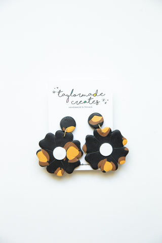 Large Black & Tan Flower Earrings