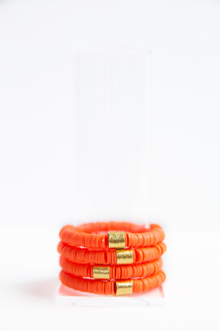Fire Orange Vinyl Disk Beaded Elastic Bracelet