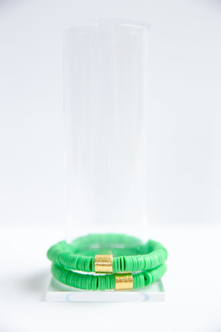 Leaf Green Vinyl Disk Beaded Elastic Bracelet