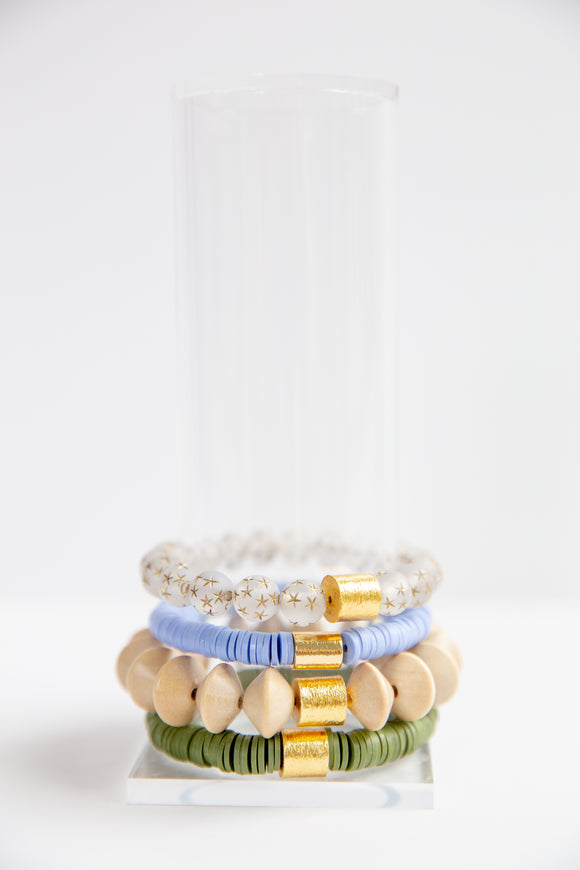 Lucky Bracelet Stack - Star, Cornflower, Cream & Olive