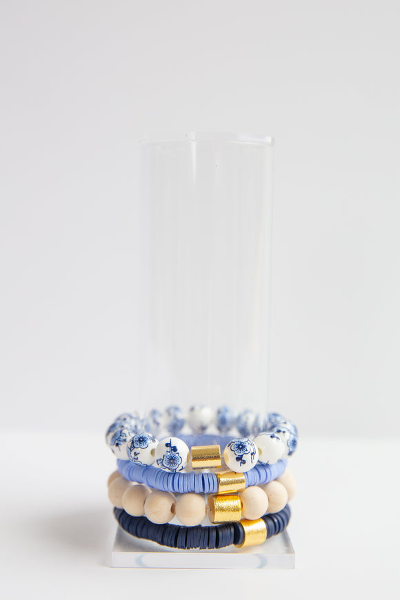 Classic Bracelet Stack - Ginger, Cornflower, Neutral & Navy
