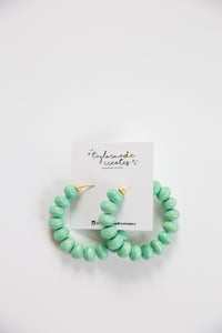 Pistachio Wooden Beaded Hoop Earrings