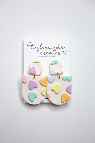 Medium Candy Heart Rounded Dangle Earrings