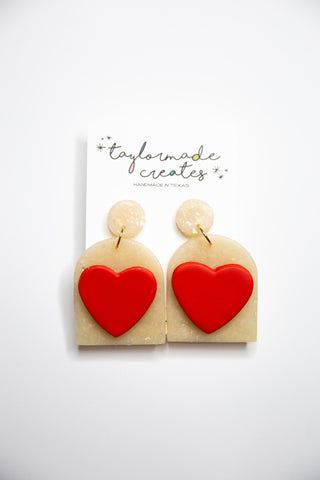 Large Red Heart Dome Dangle Earrings