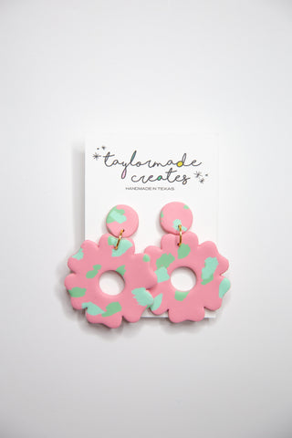 Large Pink & Mint Flower Earrings