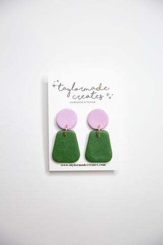 Medium Lavender & Green Geo Dangle Earrings