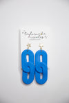 Large Blue Double Oval Dangle Earrings