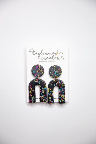 Medium Black Sprinkle Arch Dangle Earrings