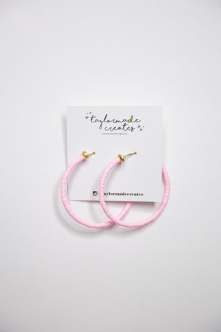 Bubblegum Beaded Hoop Earrings