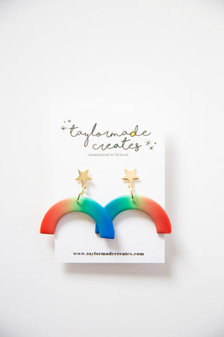 Medium Star & Ombre Rainbow Earrings
