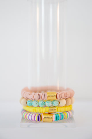 Somebunny Loves You Bracelet Stack - Pink, Wooden & Yellow