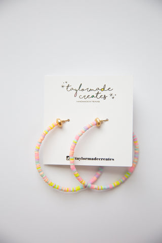 Large Funfetti Beaded Hoop Earrings