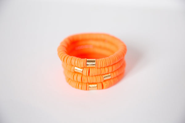 Bright Orange Vinyl Disk Beaded Elastic Bracelet