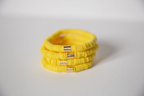 Yellow Vinyl Disk Beaded Elastic Bracelet