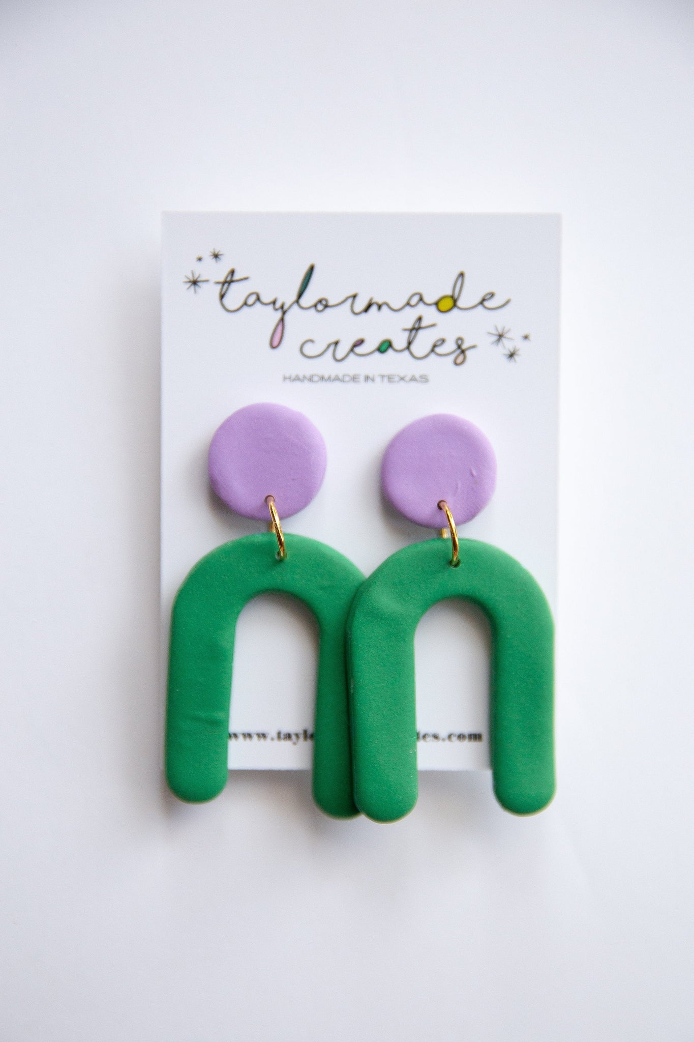 Large Green & Lavender U Dangle Earrings