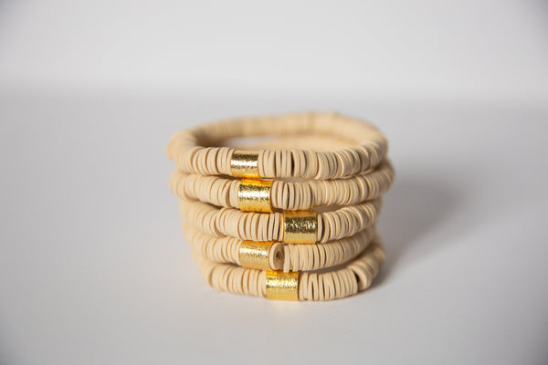 Cream Vinyl Disk Beaded Elastic Bracelet