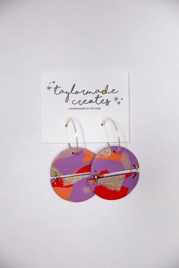 Large Purple, Red & Glitter Semi Circle Hoop Earrings