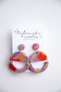 Large Purple, Red & Glitter Geo Dangle Earrings
