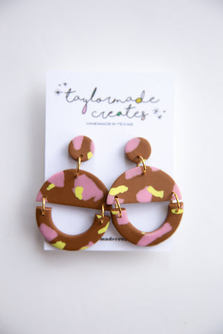 Large Brown, Pink & Citron Geo Dangle Earrings