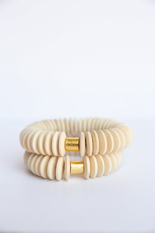 Raw Disk Wooden Bead Elastic Bracelet - Small