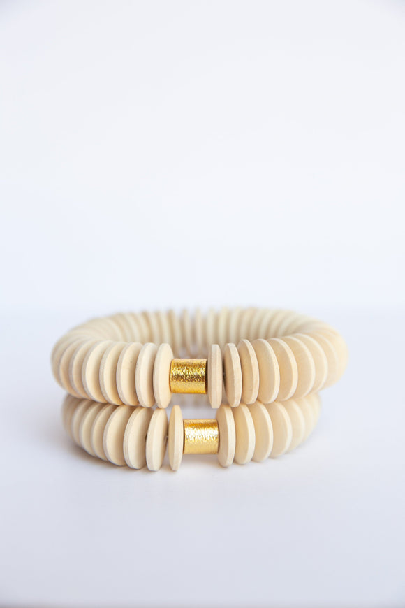 Raw Disk Wooden Bead Elastic Bracelet - Large
