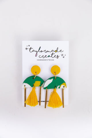 Large Green & Yellow Geo Dangle Earrings with Tassels