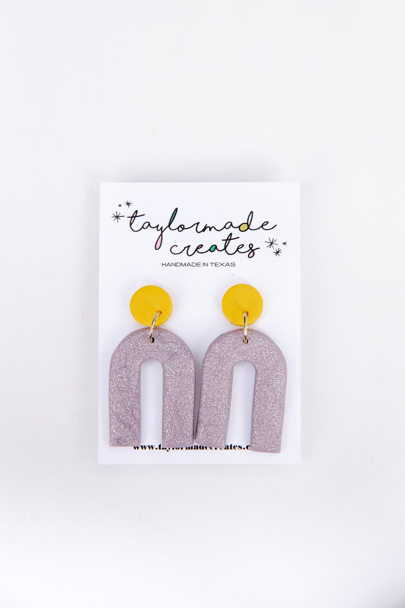 Medium Silver Glitter & Yellow Arch Dangle Earrings
