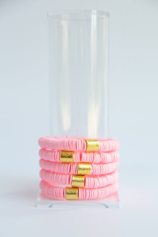Light Pink Vinyl Disk Beaded Elastic Bracelet